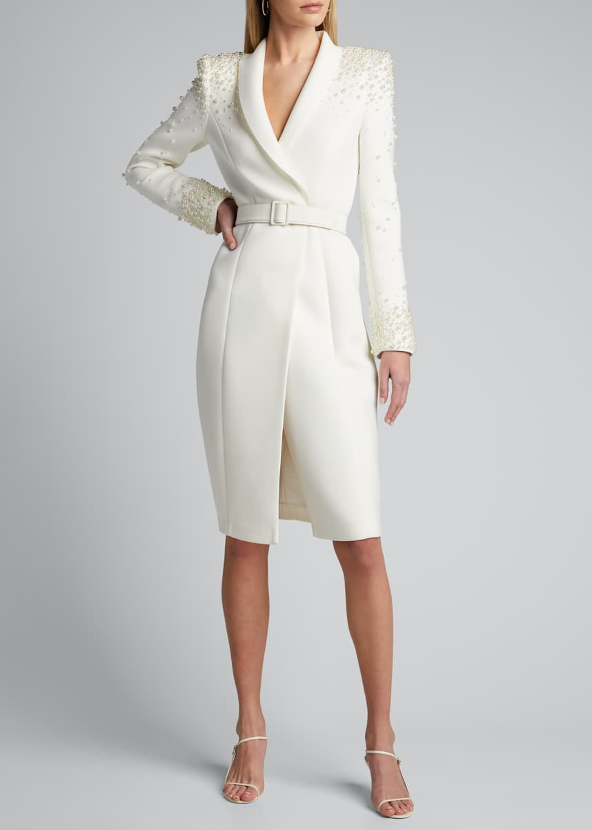 Badgley Mischka Collection Embellished Long-Sleeve Scuba Coat Dress