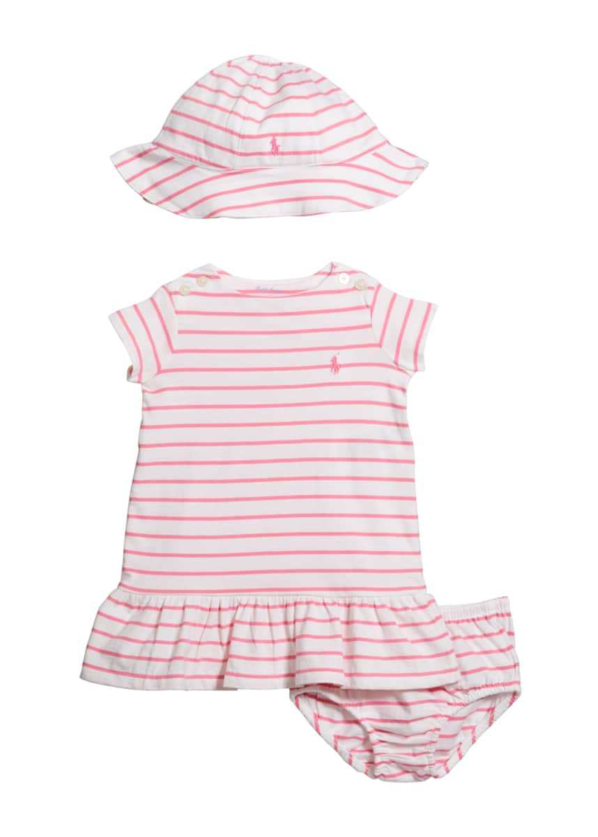 Ralph Lauren Childrenswear Yd Jersey Stripe Dress Apparel Accessory Boxed Set