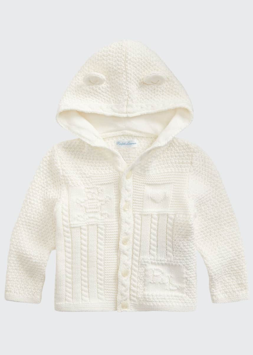 Ralph Lauren Childrenswear Combed Cotton Knit Bear Hooded Cardigan, Size 6-24 Months