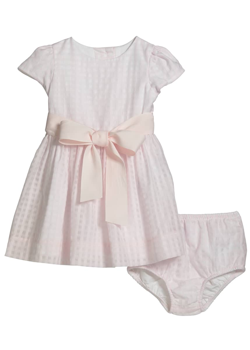 Ralph Lauren Childrenswear Girl's Windowpane Check Dress w/ Bloomers, Size 6-24 Months