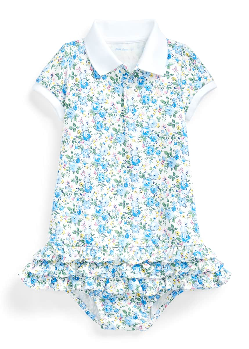 Ralph Lauren Childrenswear Girl's Floral Interlock Ruffle Polo Dress w/ Bloomers, Size 6-24 Months