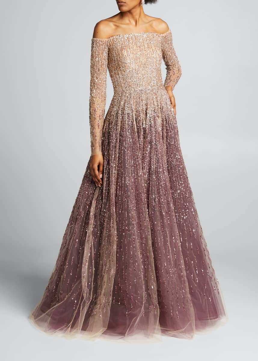 Pamella Roland Sequin & Crystal Ombre Ball Gown