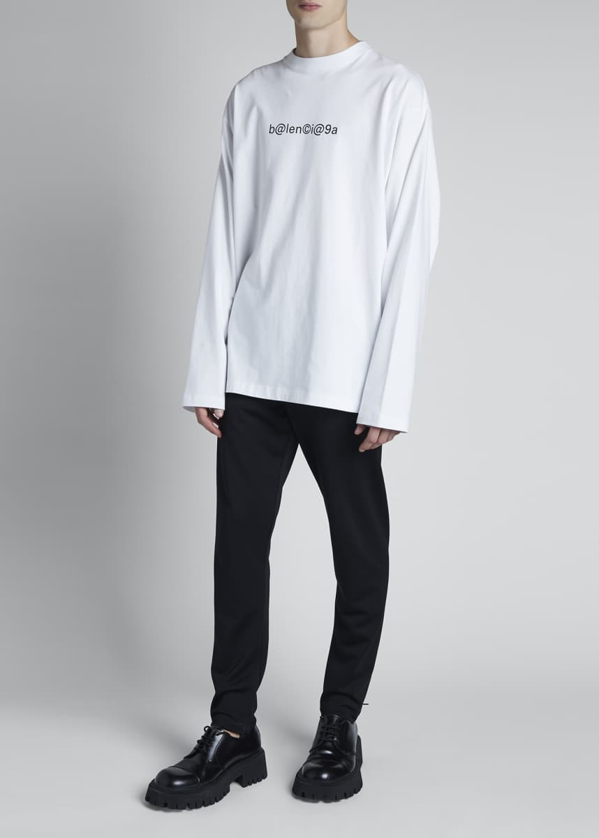 Balenciaga Men's Oversized Organic Cotton Leet Logo T-Shirt