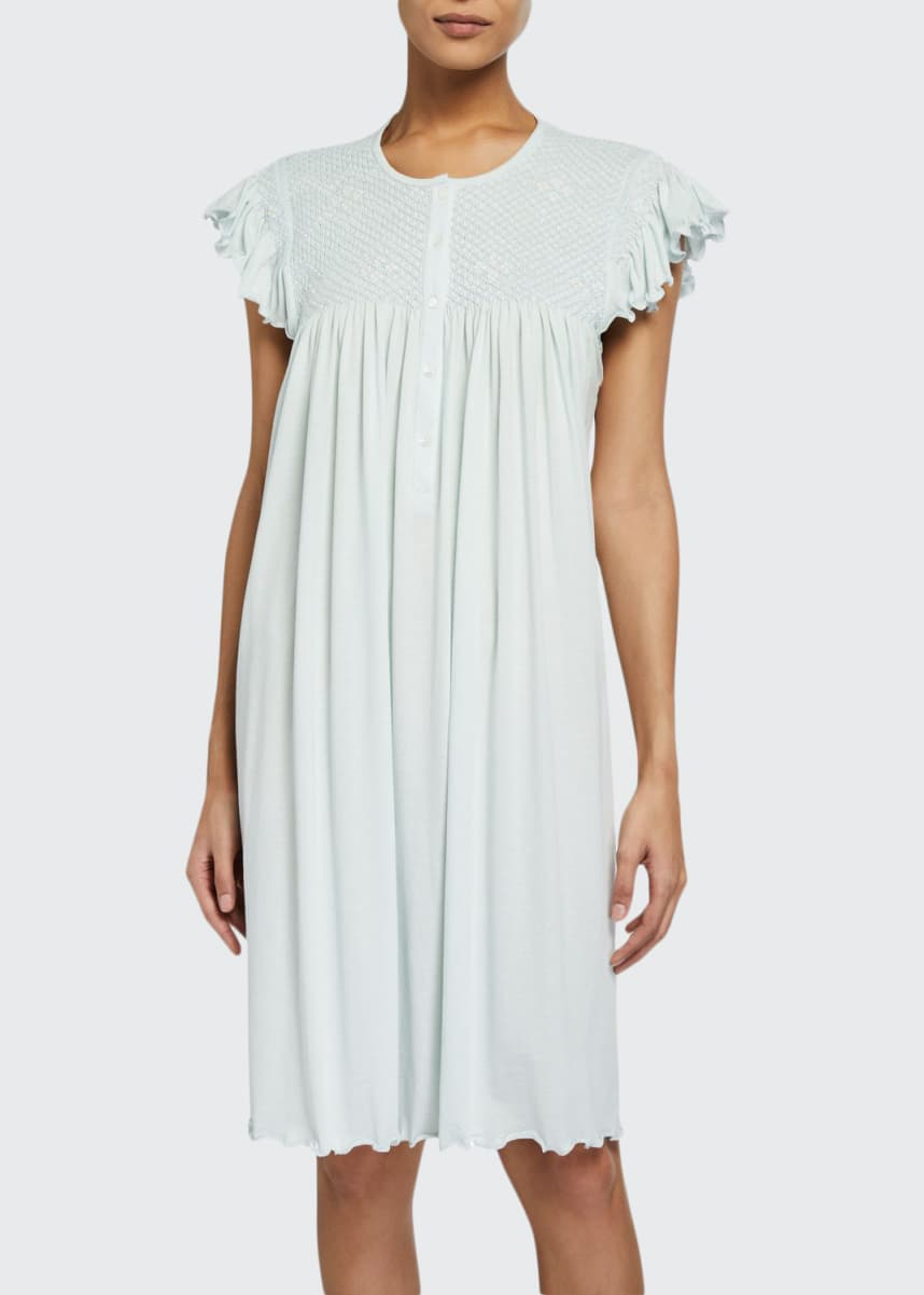 P Jamas Heirloom Daisy Cap-Sleeve Jersey Nightgown