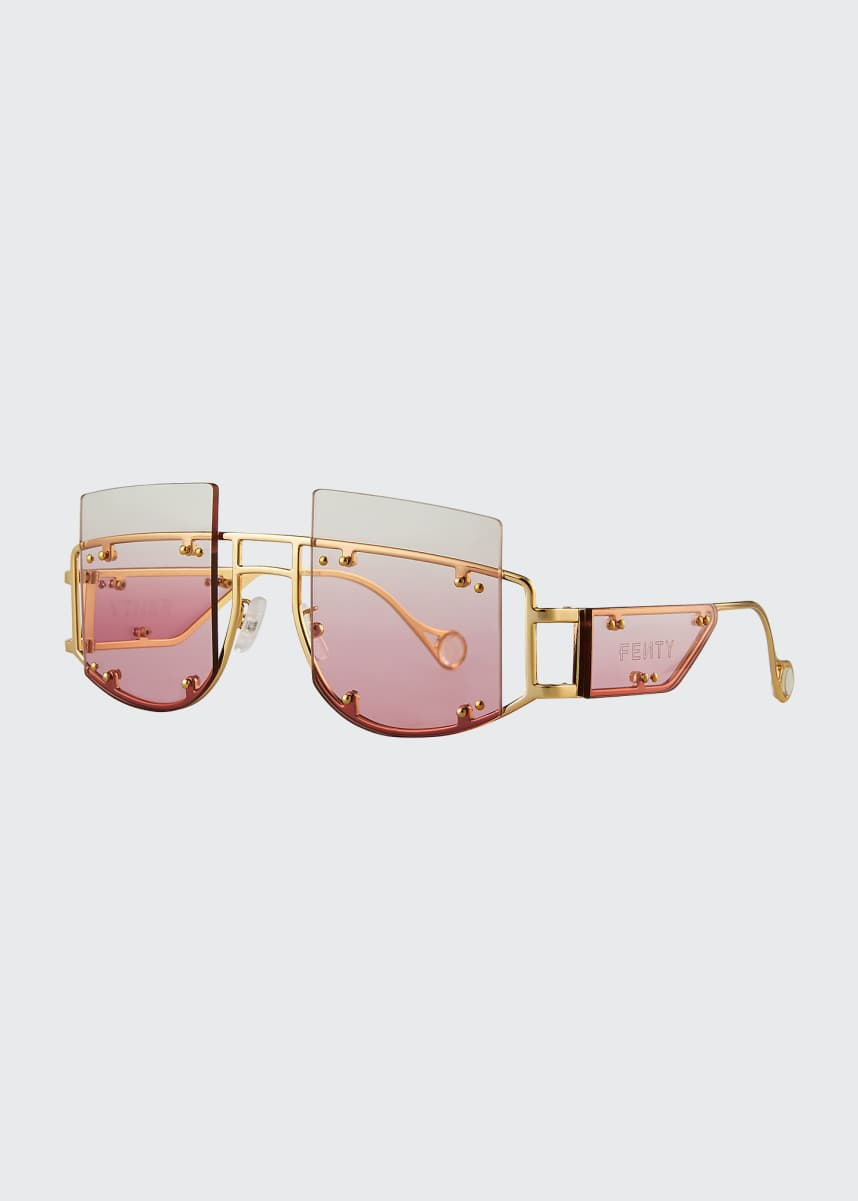 Fenty Antisocial Semi-Rimless Square Metal Sunglasses
