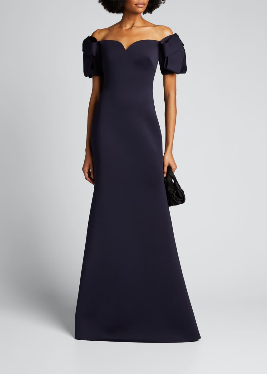 Badgley Mischka Collection Off-the-Shoulder Elbow-Sleeve Scuba Trumpet Gown
