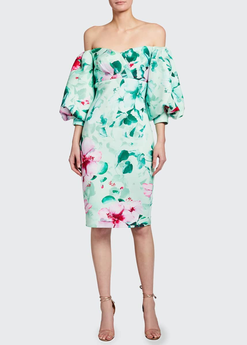 Badgley Mischka Collection Floral Print Off-the-Shoulder Balloon-Sleeve Scuba Dress