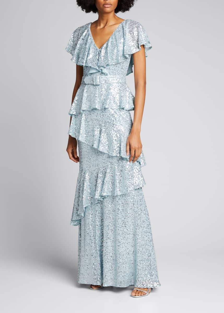 Badgley Mischka Collection Sequin Tiered Ruffle Gown