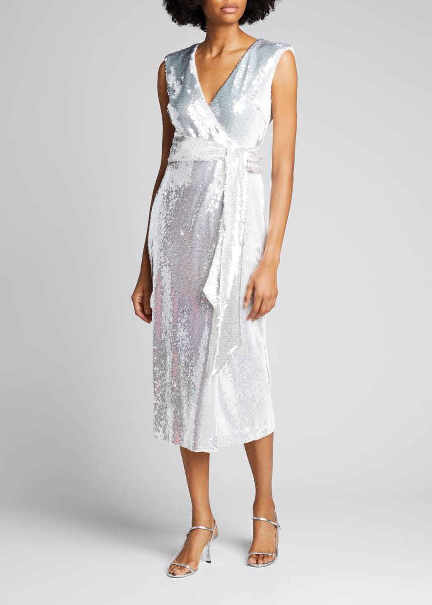 Badgley Mischka Collection Sequined Wrap Dress