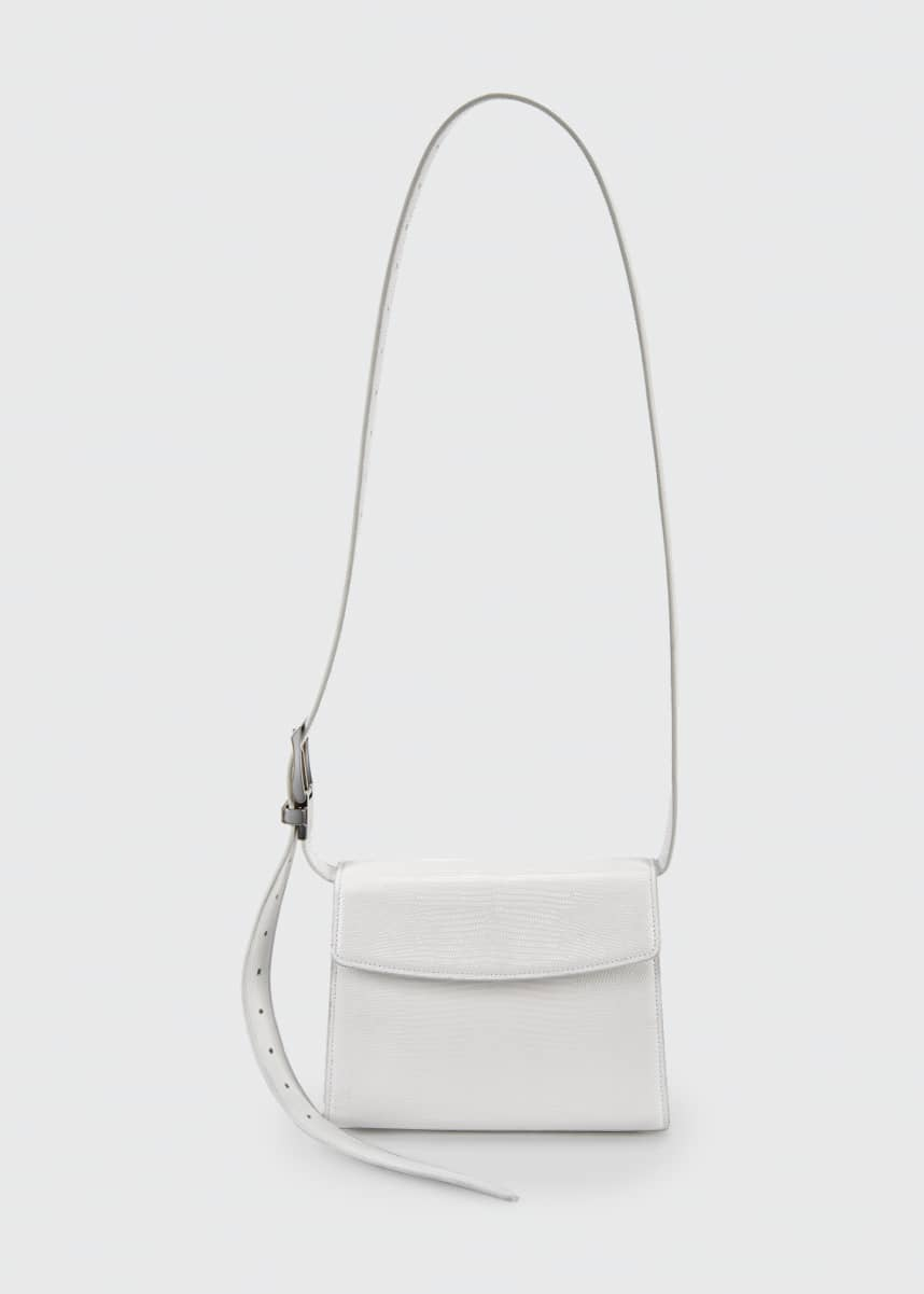 Balenciaga Ghost Medium Lizard-Embossed Shoulder Bag