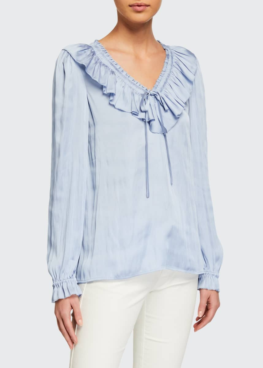 PAIGE Aliza Long-Sleeve Ruffle Blouse