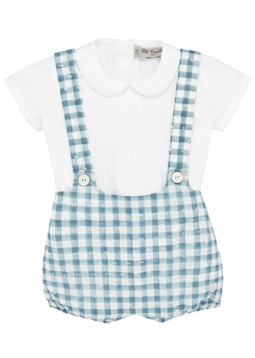 Pili Carrera Pintucked Collared Shirt w/ Check Suspender Shorts, Size 3-24 Months