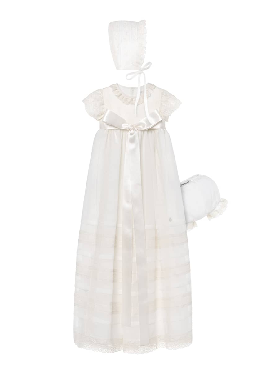 Pili Carrera Girl's Christening Gown w/ Matching Bonnet & Bloomers, Size 3-6 Months