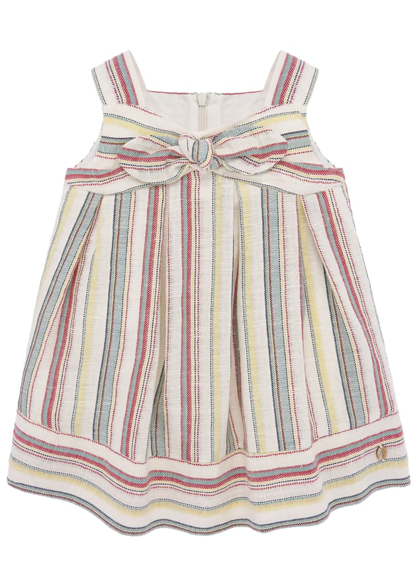 Pili Carrera Girl's Tropical Stripe Bow Dress, Size 2-6
