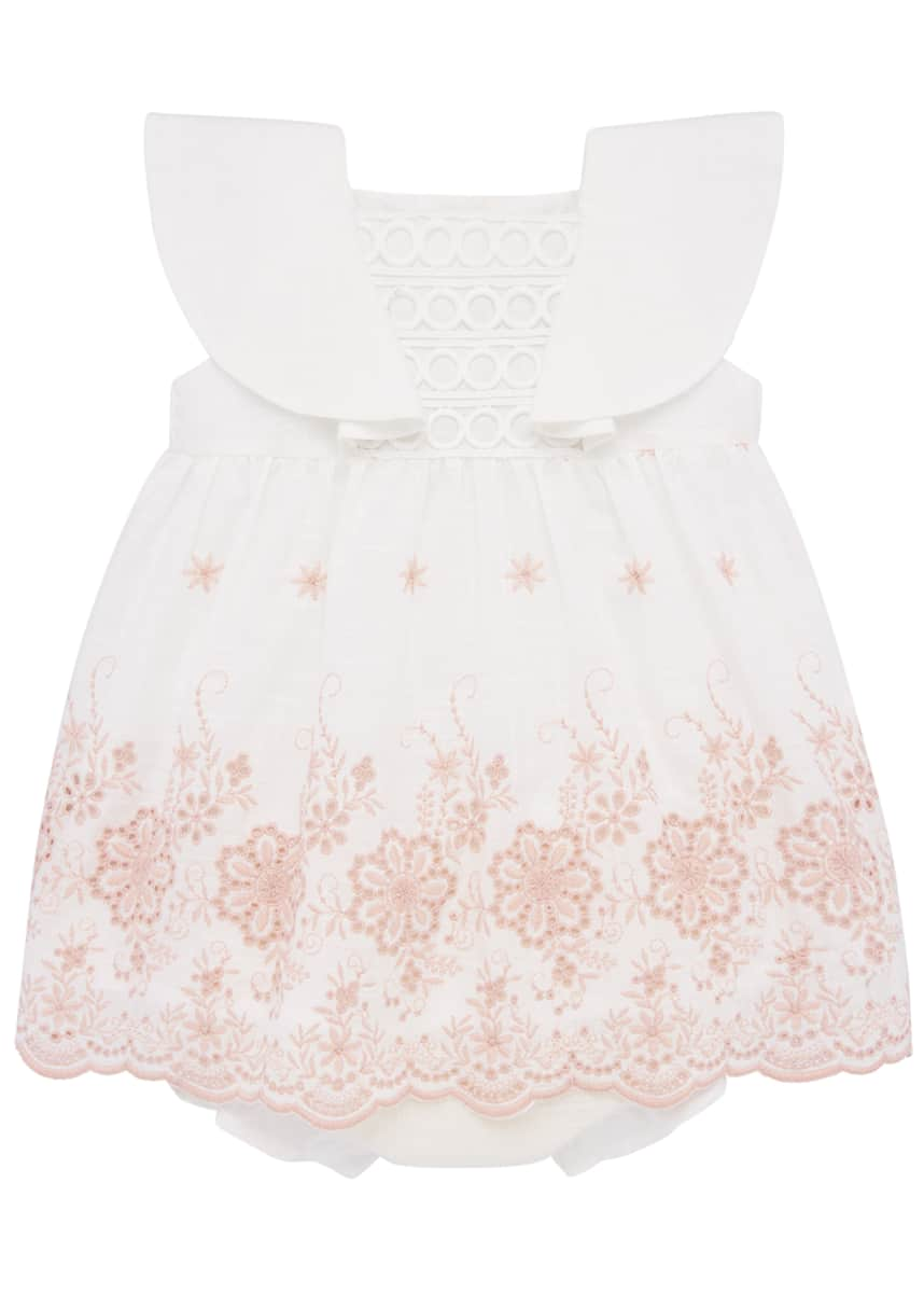 Pili Carrera Girl's Floral Embroidered Dress w/ Bloomers, Size 12M-3