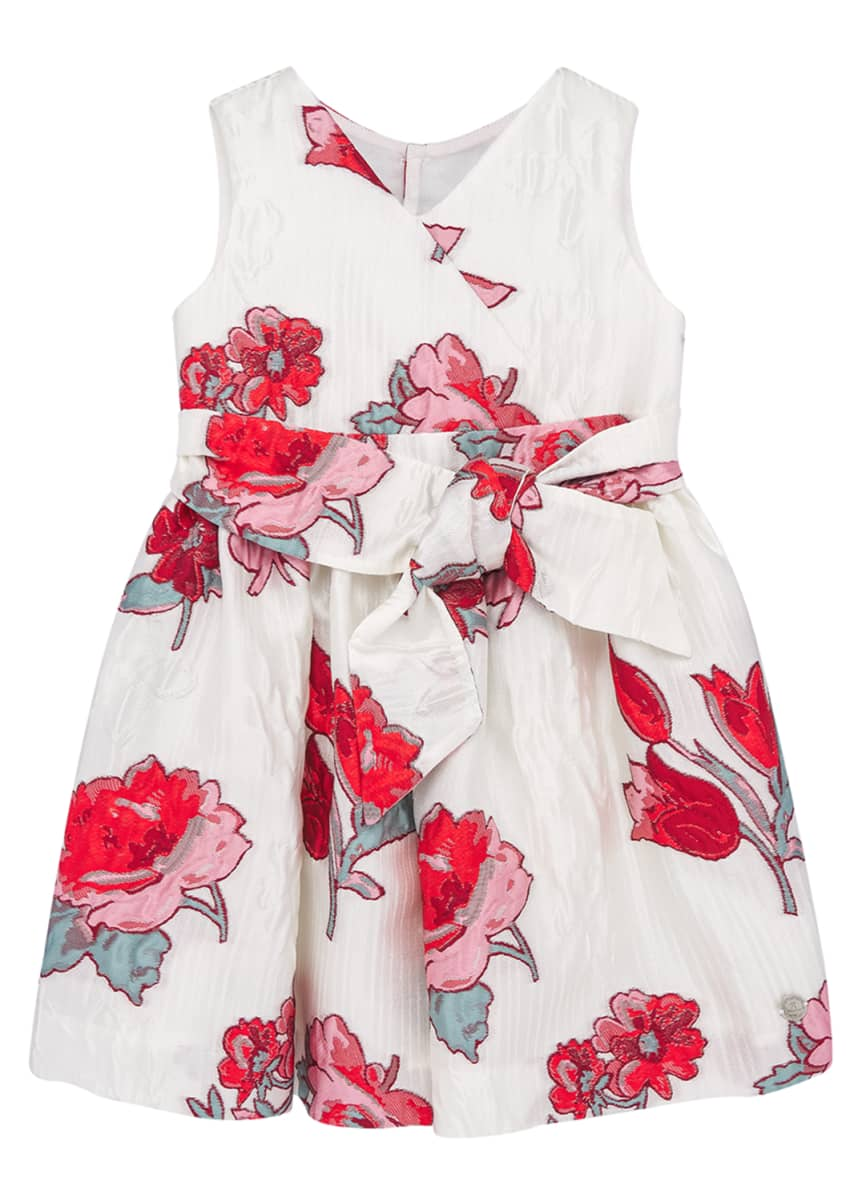 Pili Carrera Girl's Floral Jacquard V-Neck Dress, Size 3-10