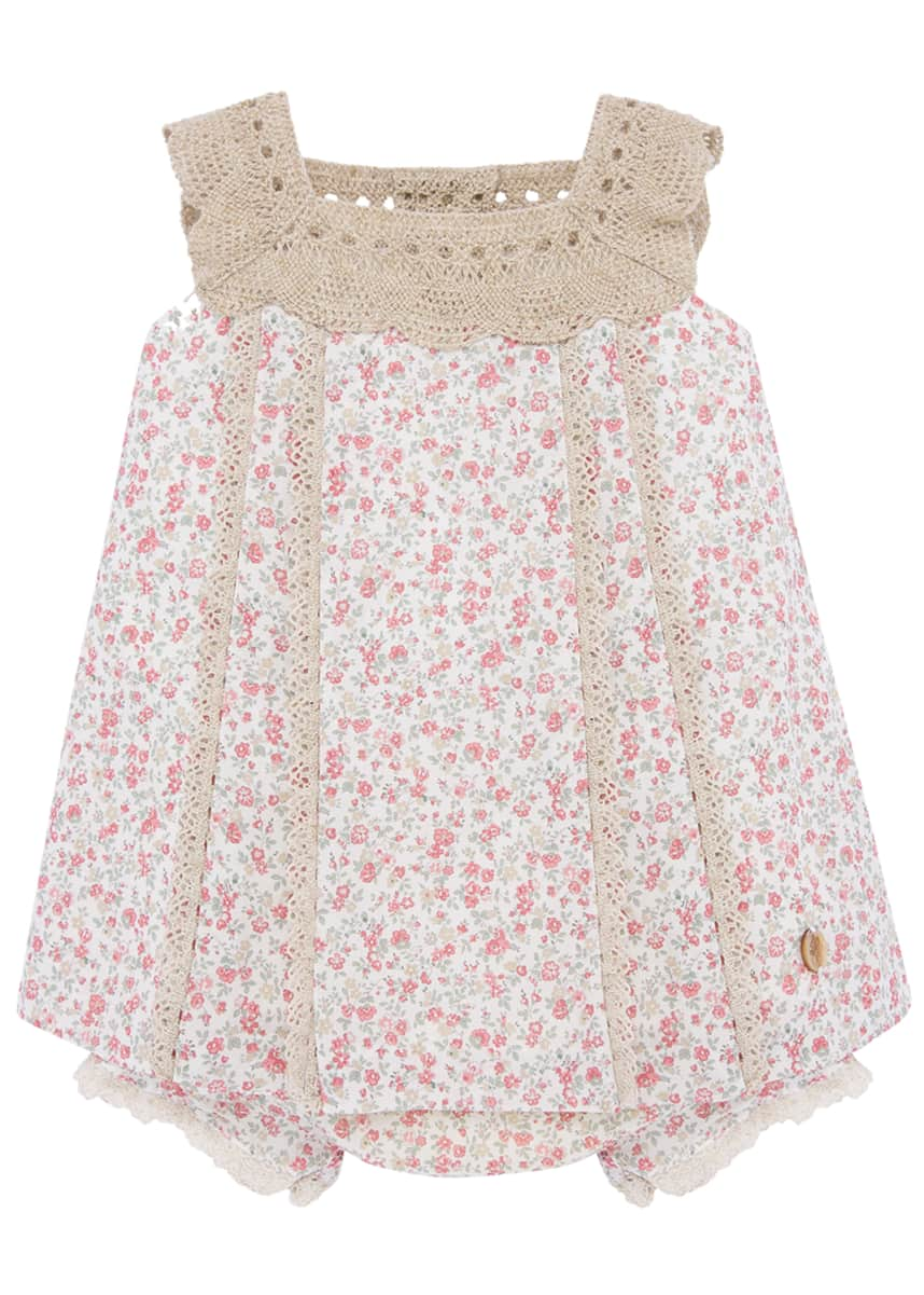 Pili Carrera Girl's Floral Print Crochet Trim Dress w/ Bloomers, Size 3-24 Months