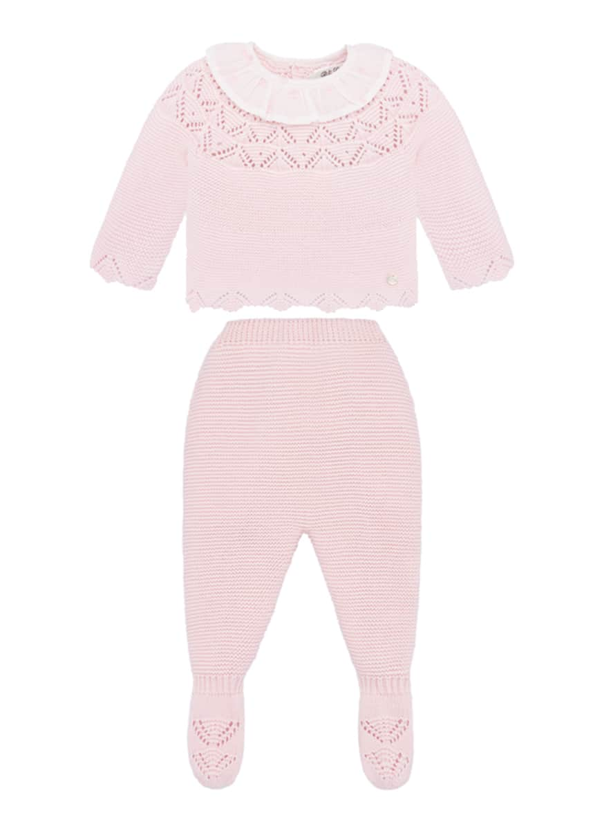 Pili Carrera Knit Collared Sweater w/ Matching Footed Pants, Size 1-6 Months