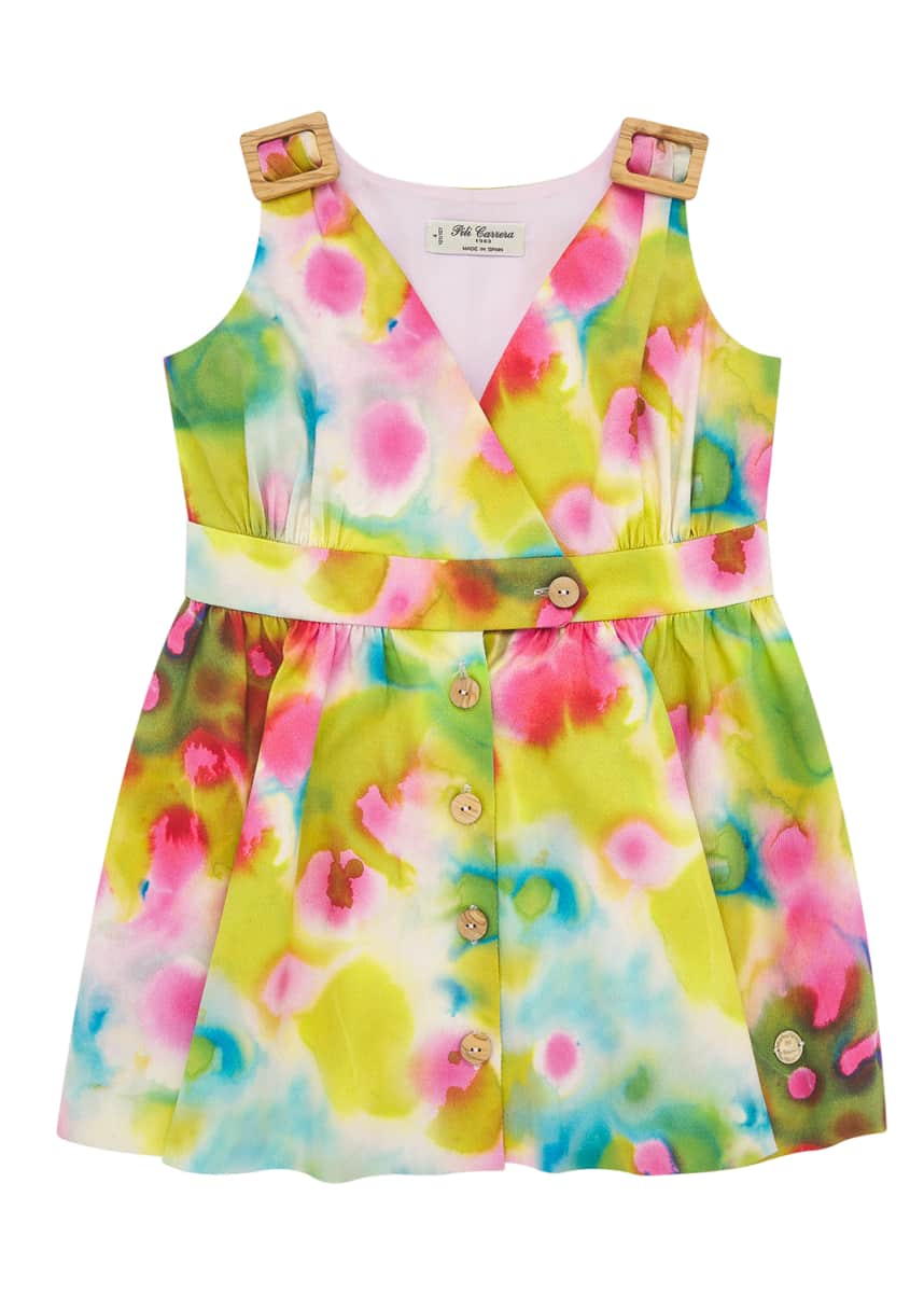 Pili Carrera Girl's Bright Watercolor Floral Dress w/ Buckle Shoulders, Size 4-10