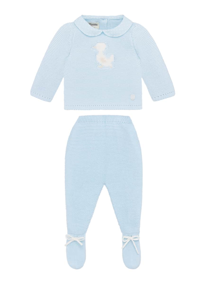 Pili Carrera Knit Duck Sweater w/ Matching Footed Pants, Size 1-6 Months