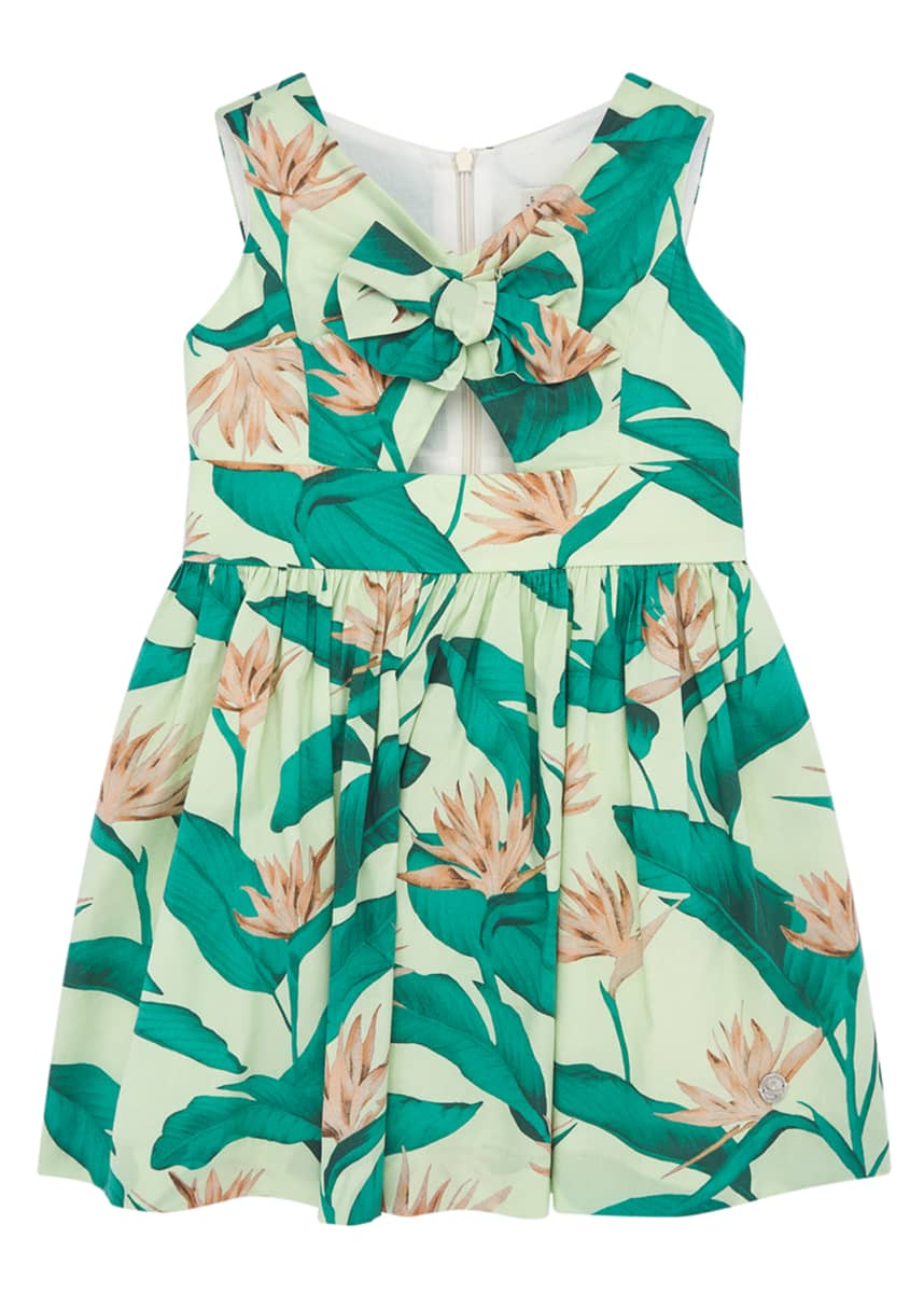 Pili Carrera Girl's Tropical Bird of Paradise Floral Print Dress, Size 4-10