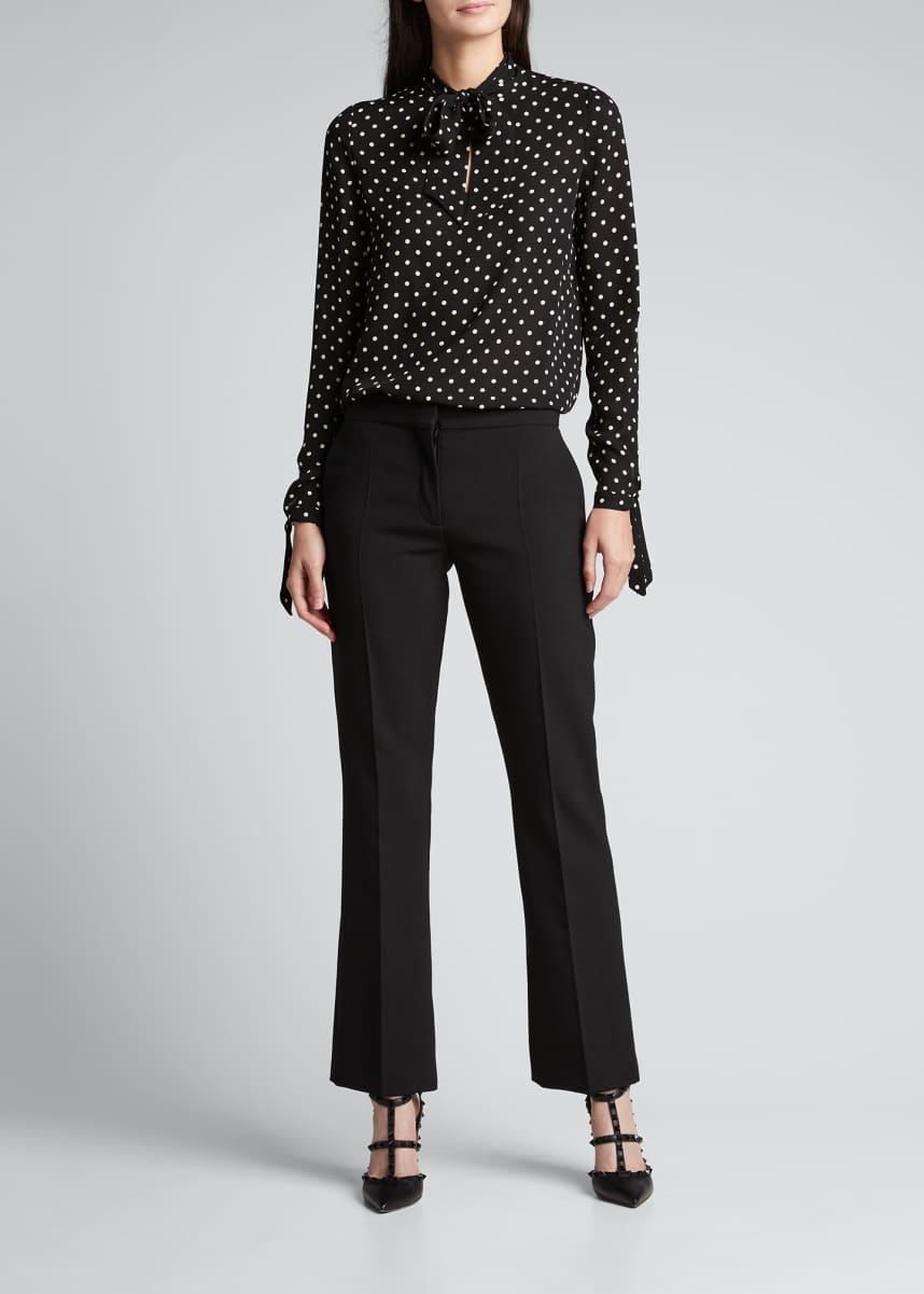Valentino Polka Dot Self-Tie Silk Blouse