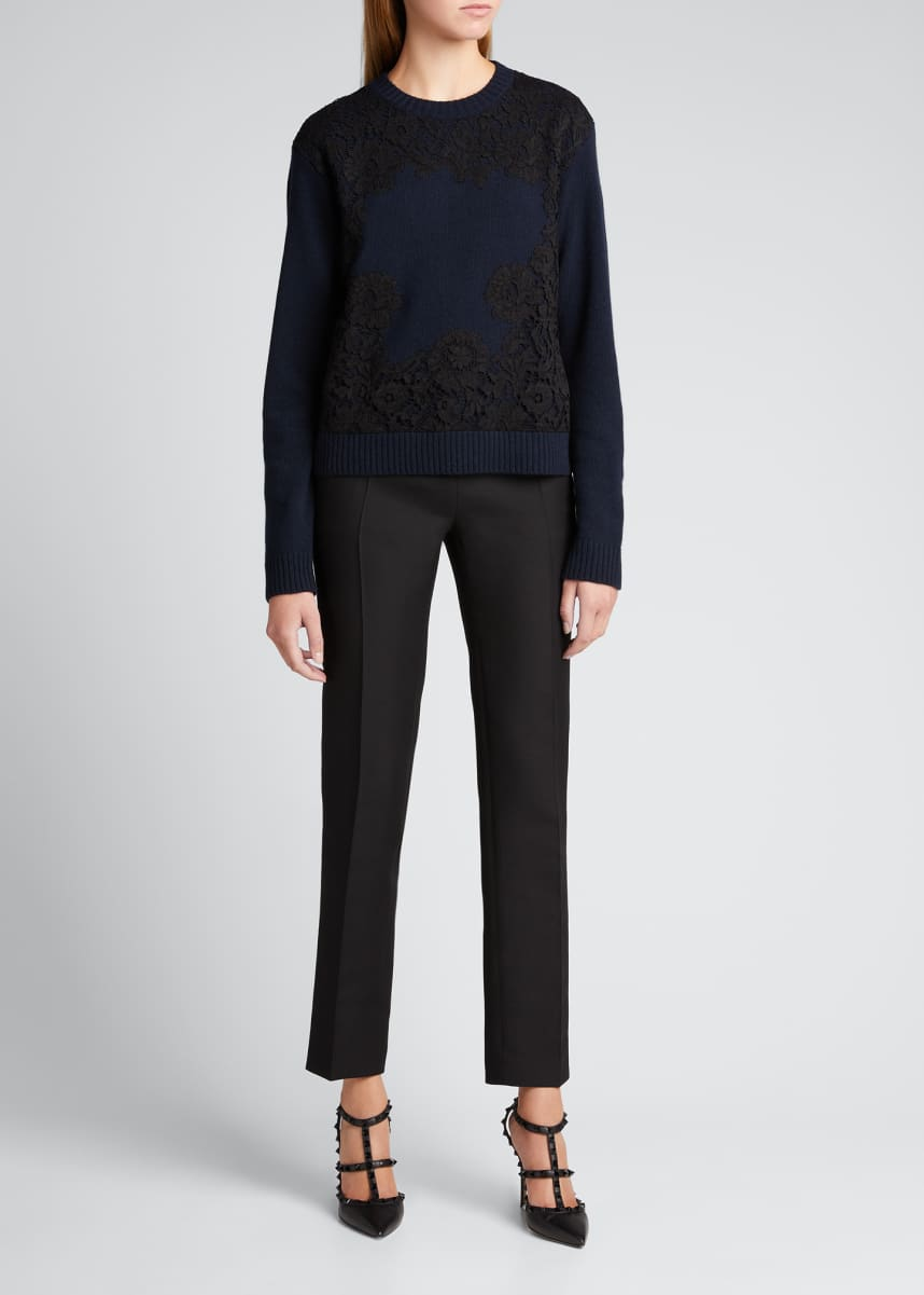 Valentino Floral Lace Ribbed Wool-Cashmere Sweater