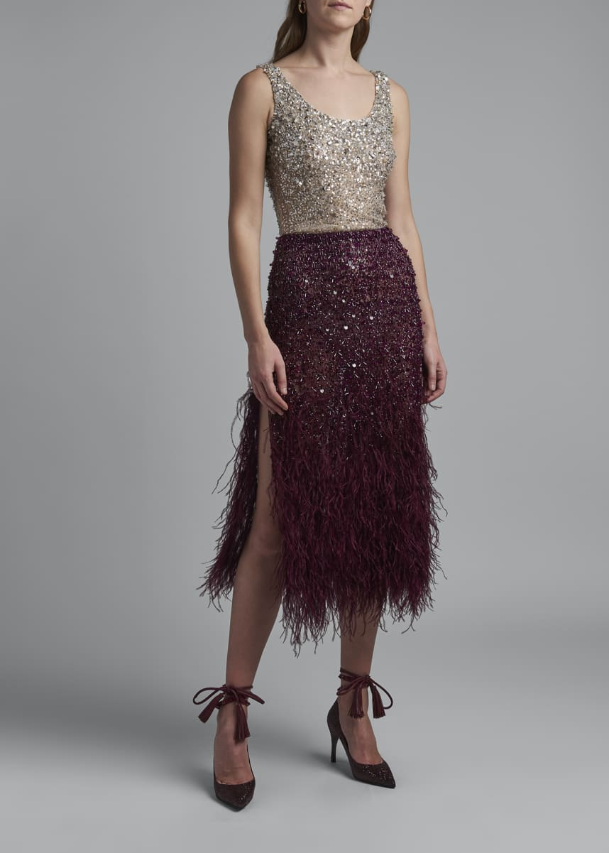Valentino Feather Embroidered Tulle Skirt