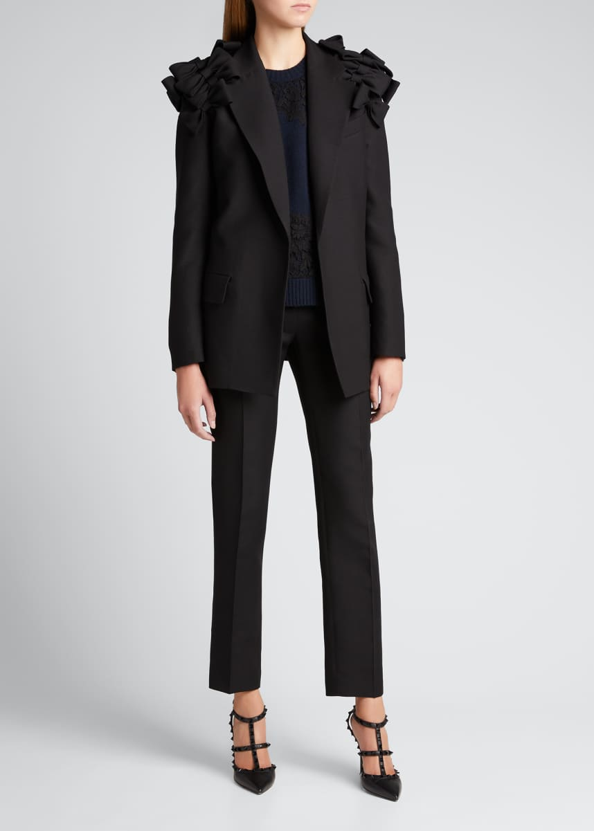 Valentino Bow Shoulder Single-Breasted Crepe Couture Blazer
