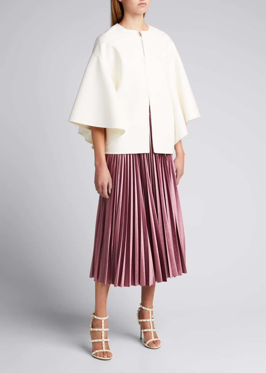 Valentino Pleated Velvet Midi Skirt