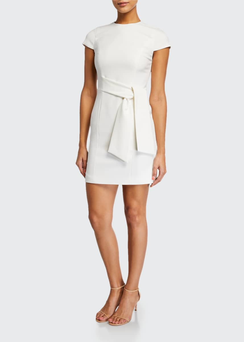 Alice + Olivia Virgil Crewneck Dress w/ Wrap Belt