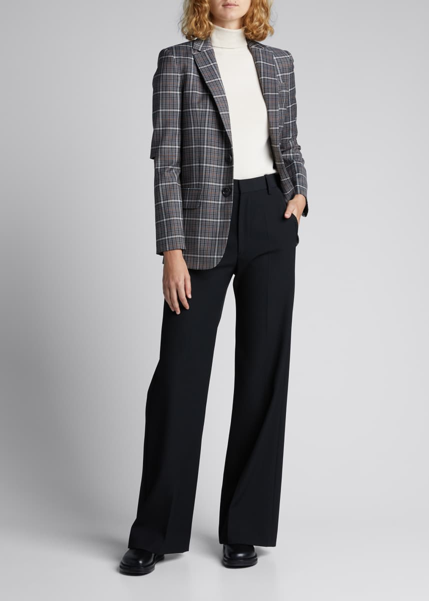 Tibi Gabe Windowpane Check Menswear Suiting Blazer