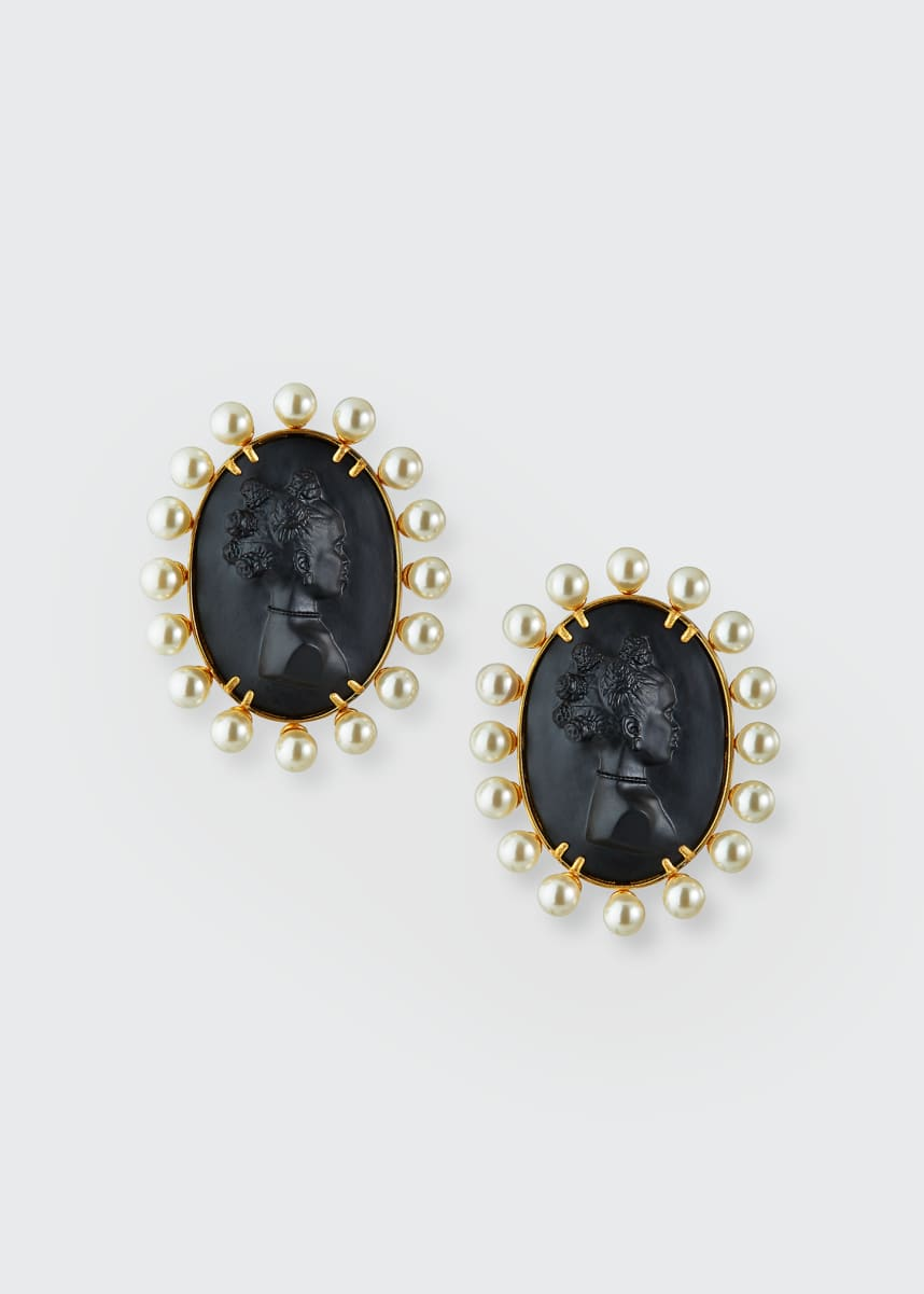 Fenty Cameo Post Earrings, Black