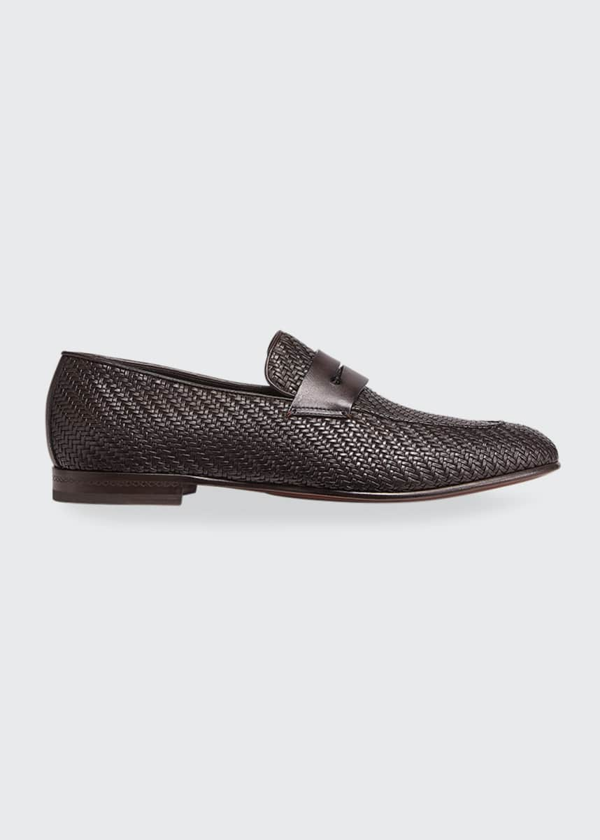 Ermenegildo Zegna Men's Pelle Tessuta Leather Penny Loafers