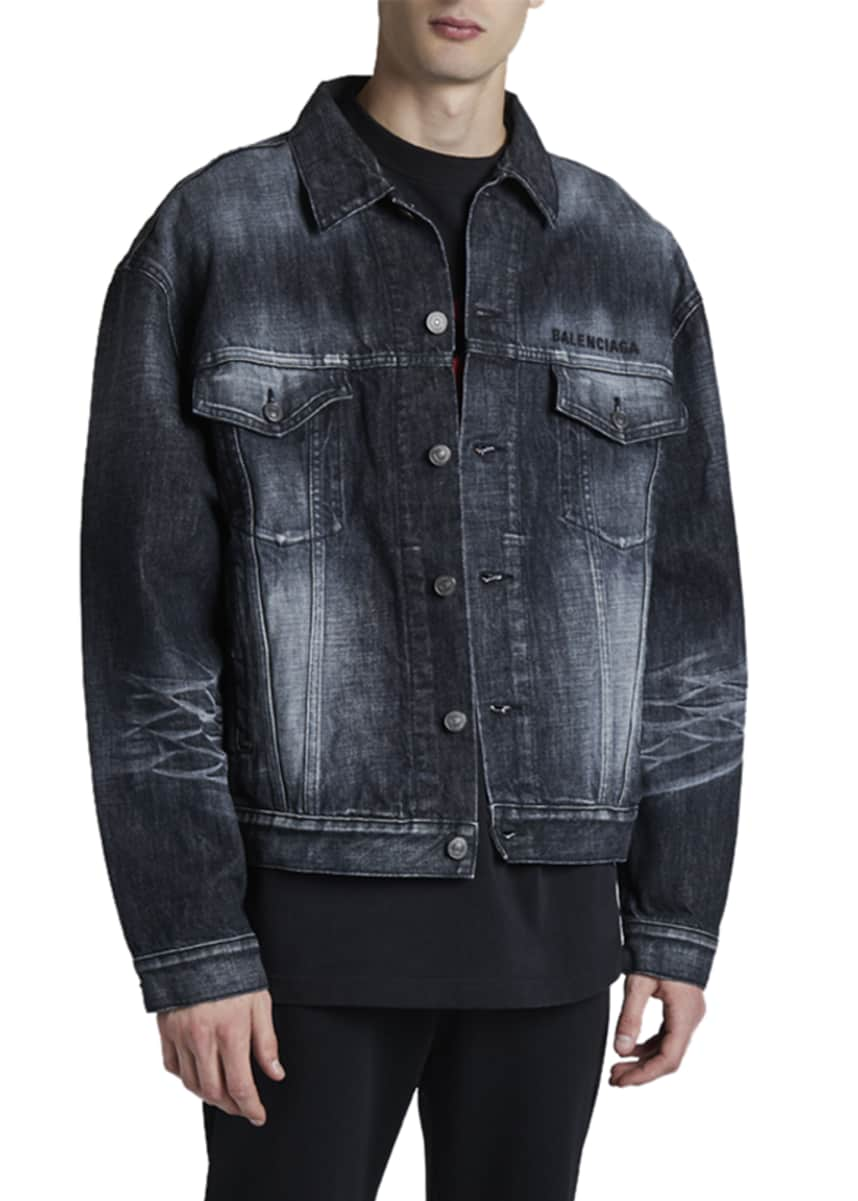 Balenciaga Men's Logo Embroidery Denim Jacket