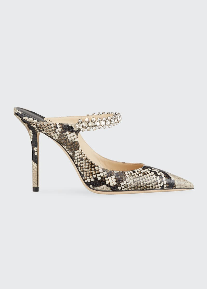 Jimmy Choo Bing 100mm Snake-Print Leather Mary Jane Mules