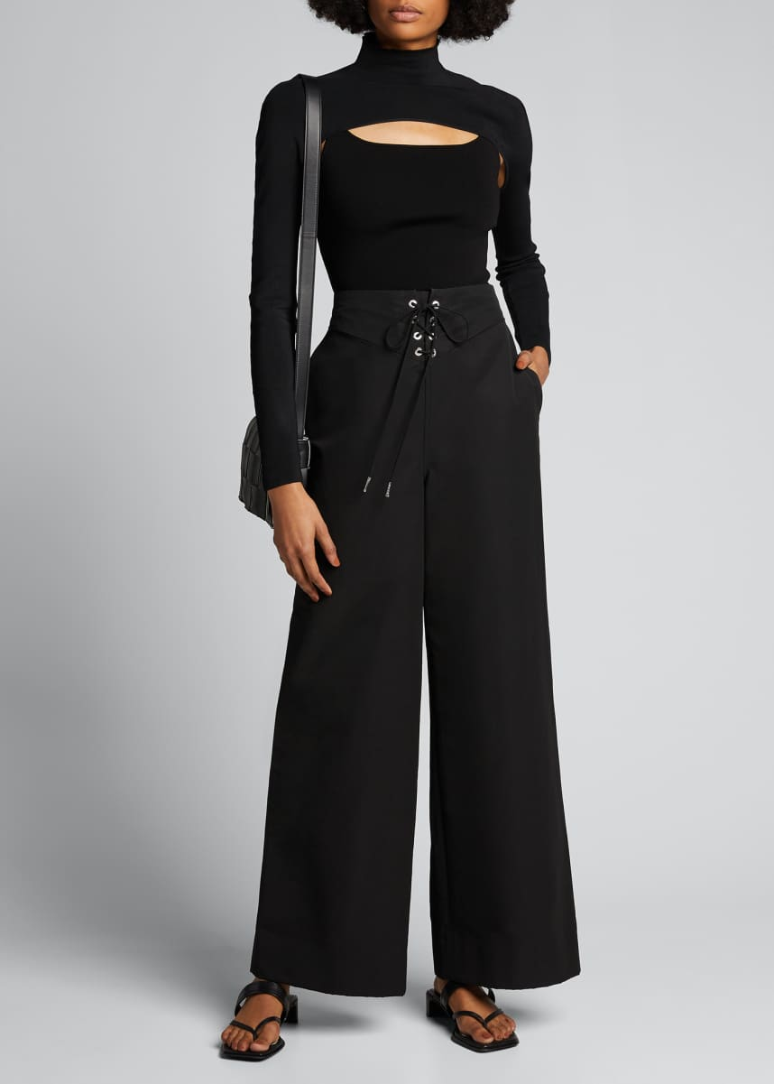 Dion Lee Lace-Up-Waist Wide-Leg Pants
