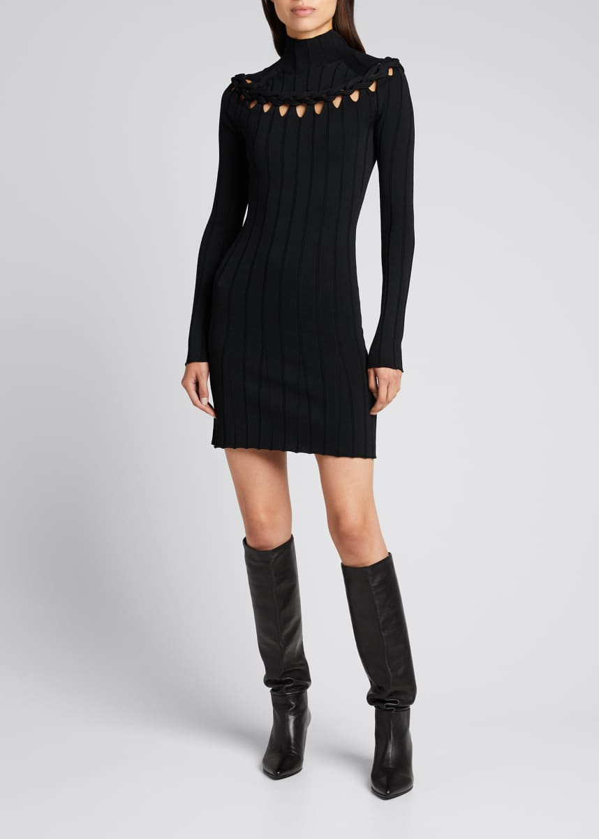 Dion Lee Braided Knit Cutout Mini Dress