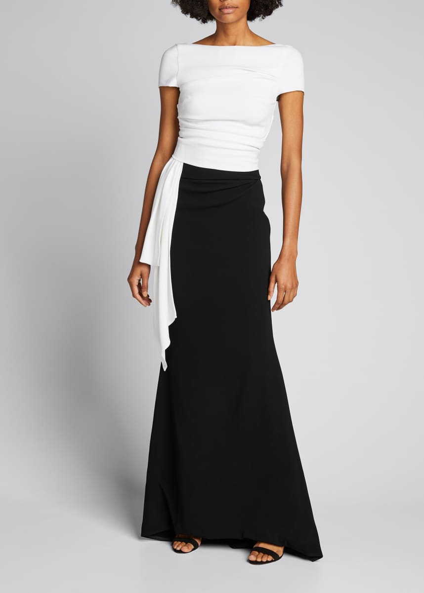 Talbot Runhof Bouvier Bicolor Stretch Crepe Gown