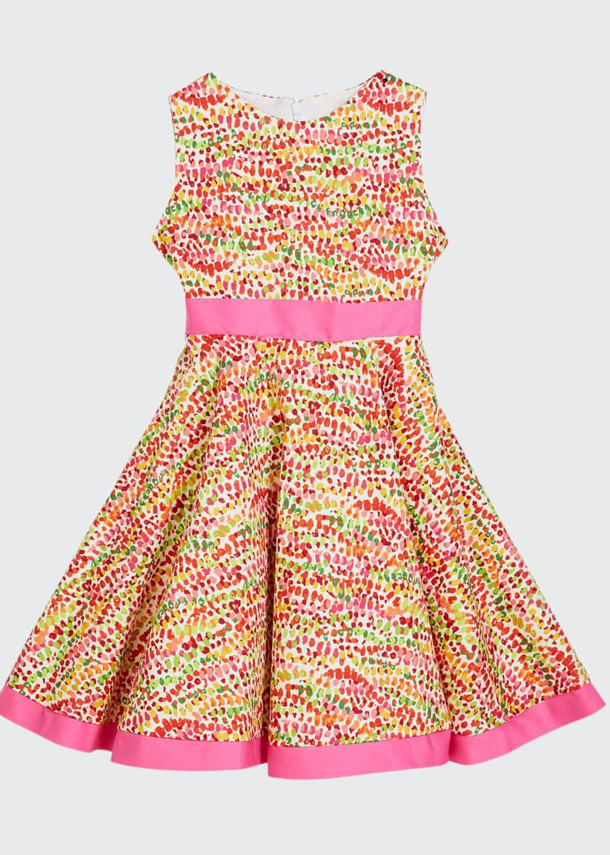 Susanne Lively Girl's Pebble Print Twirl Dress w/ Solid Trim, Size 4-6X