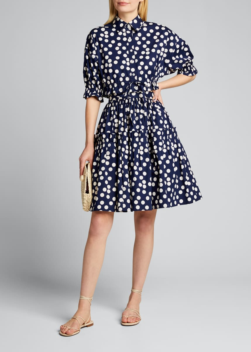 Carolina Herrera Polka-Dot Poplin Crop Shirt