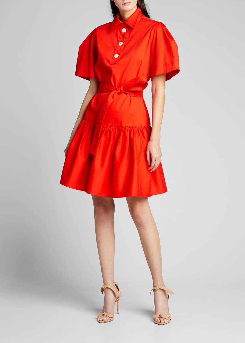 Carolina Herrera Oversized Collared Self-Tie Shirtdress