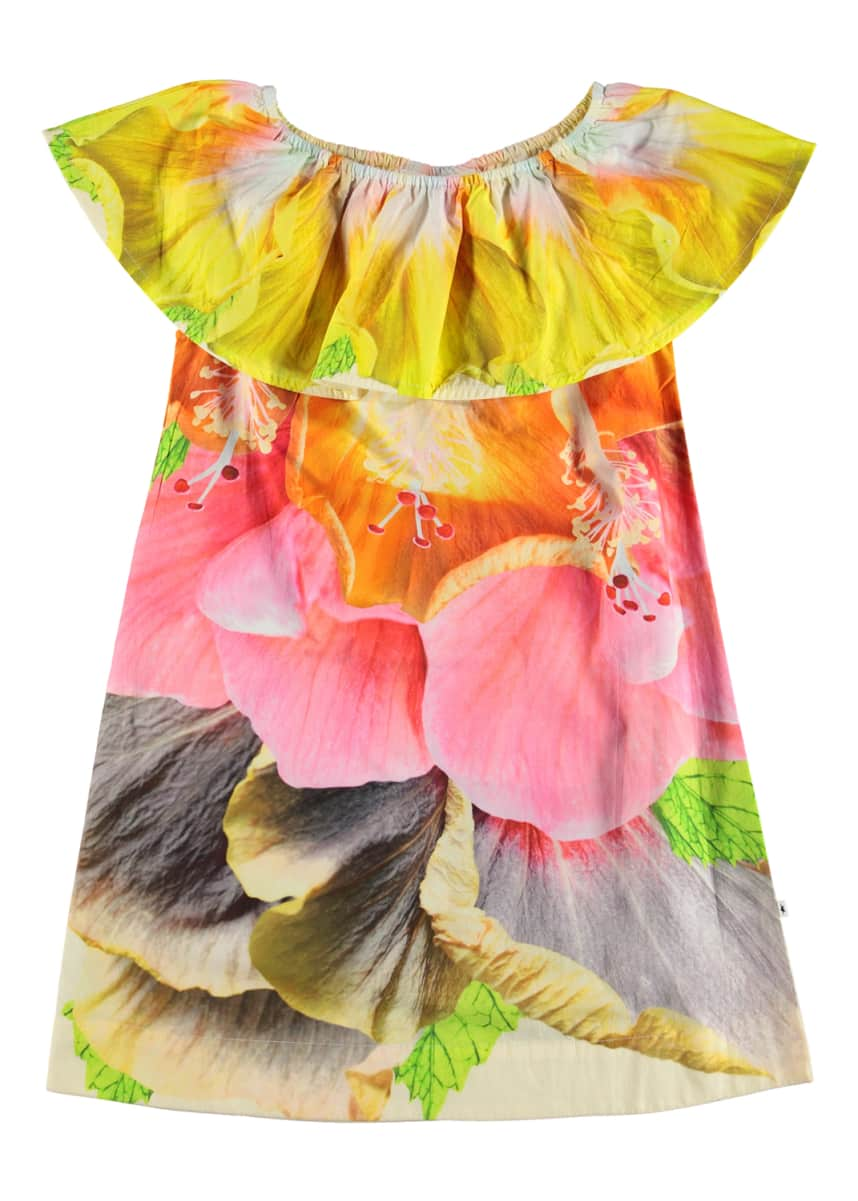 Molo Girl's Cherisa Woven Floral Ruffle Dress, Size 3T-12