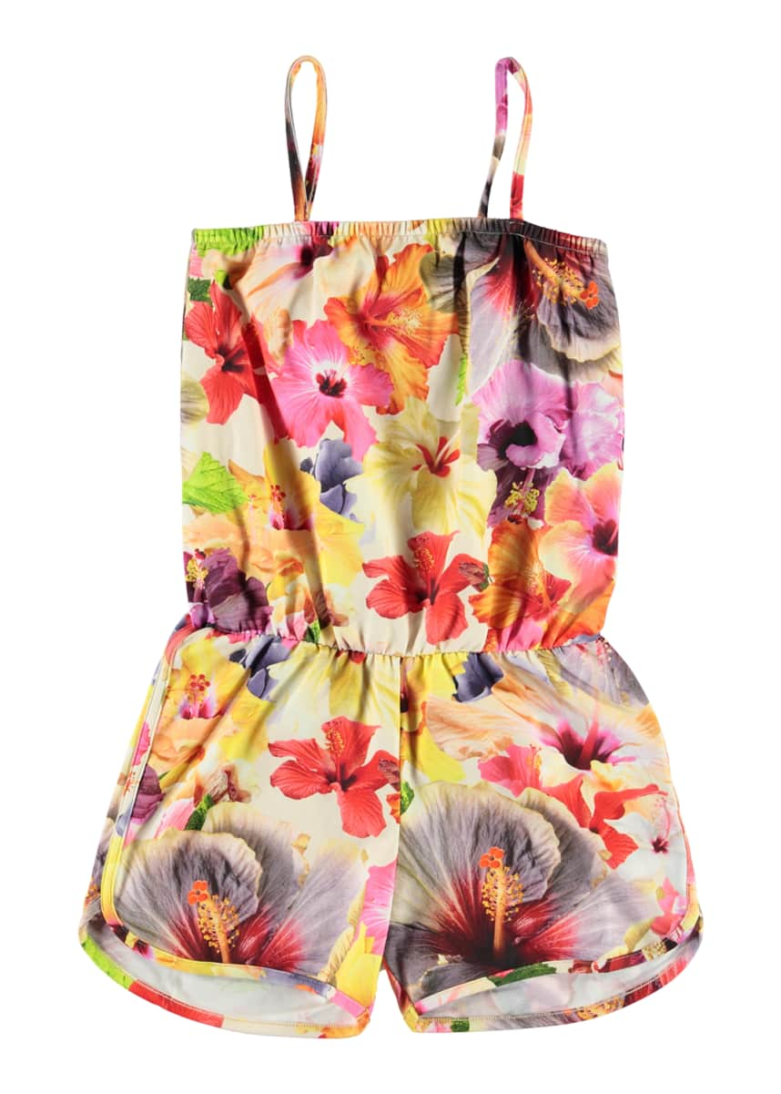 Molo Girl's Amberly Flower Print Romper, Size 3T-14