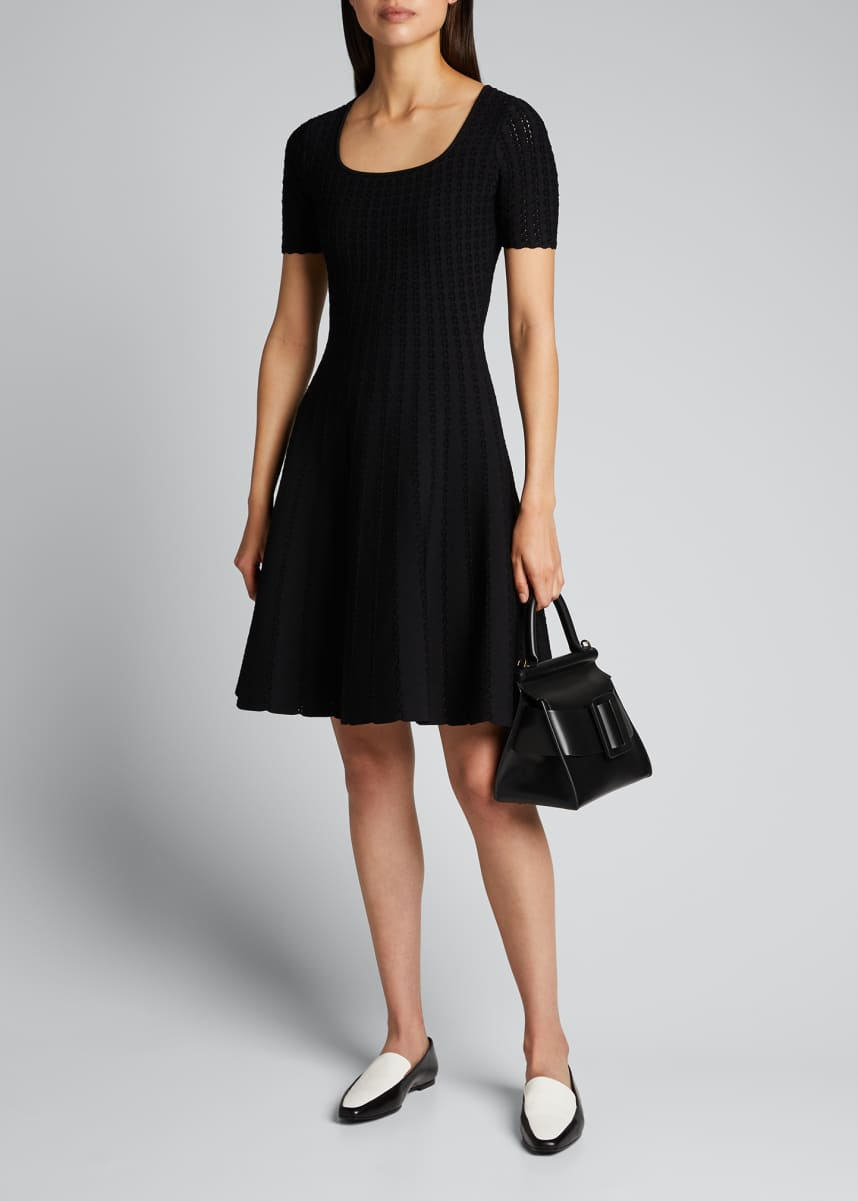 Carolina Herrera Lace-Stitched Flare Dress