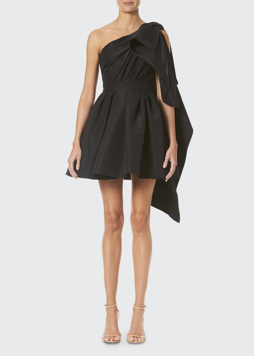 Carolina Herrera One-Shoulder Bow Silk Cocktail Dress