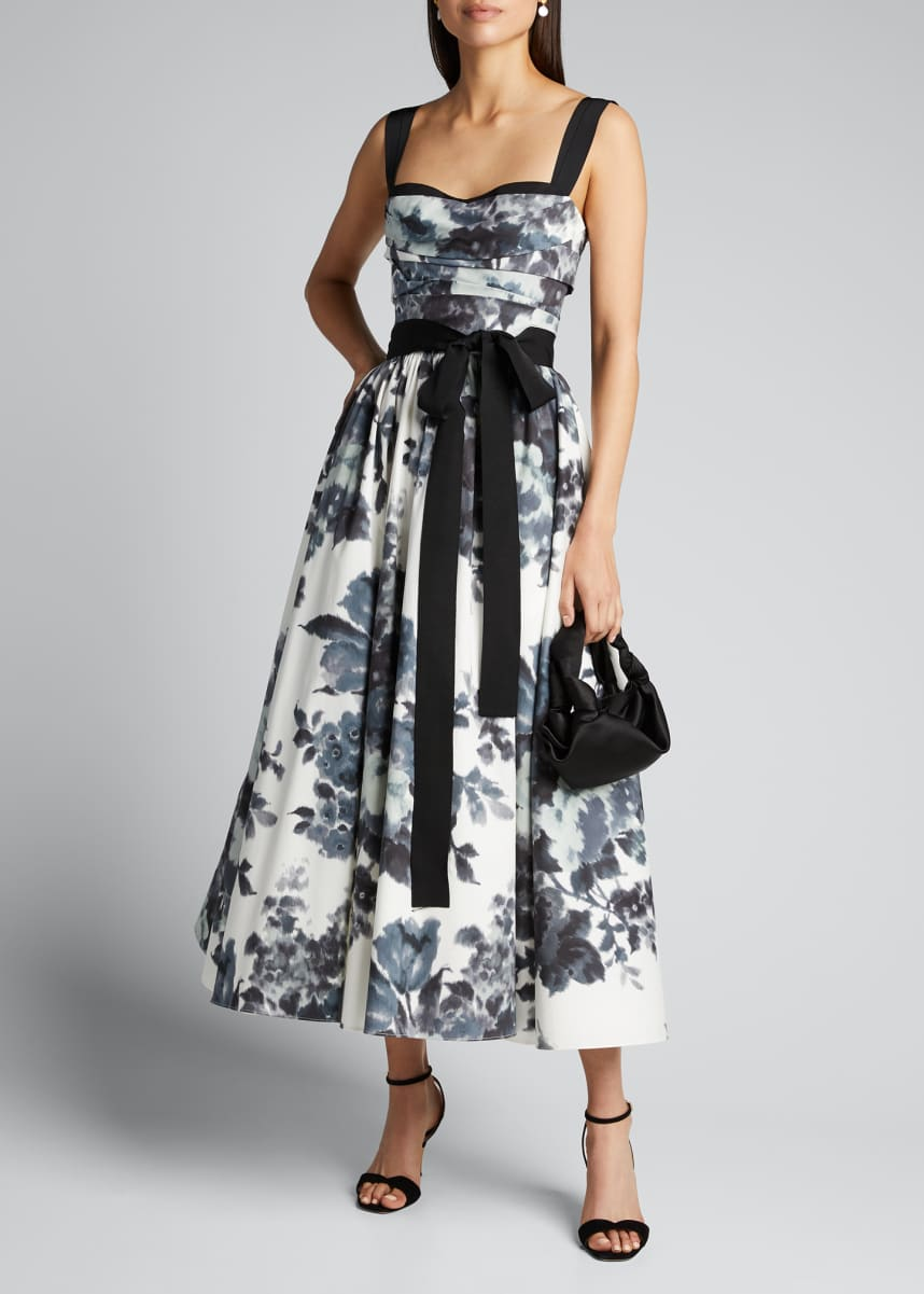 Carolina Herrera Floral-Print Sweetheart-Neck Tea-Length Dress
