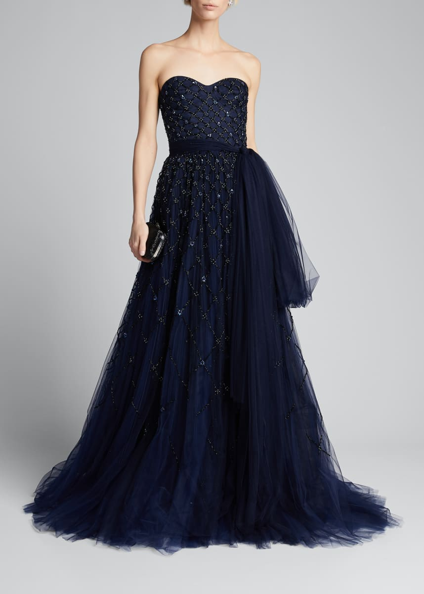 Carolina Herrera Embroidered Tulle Strapless Gown