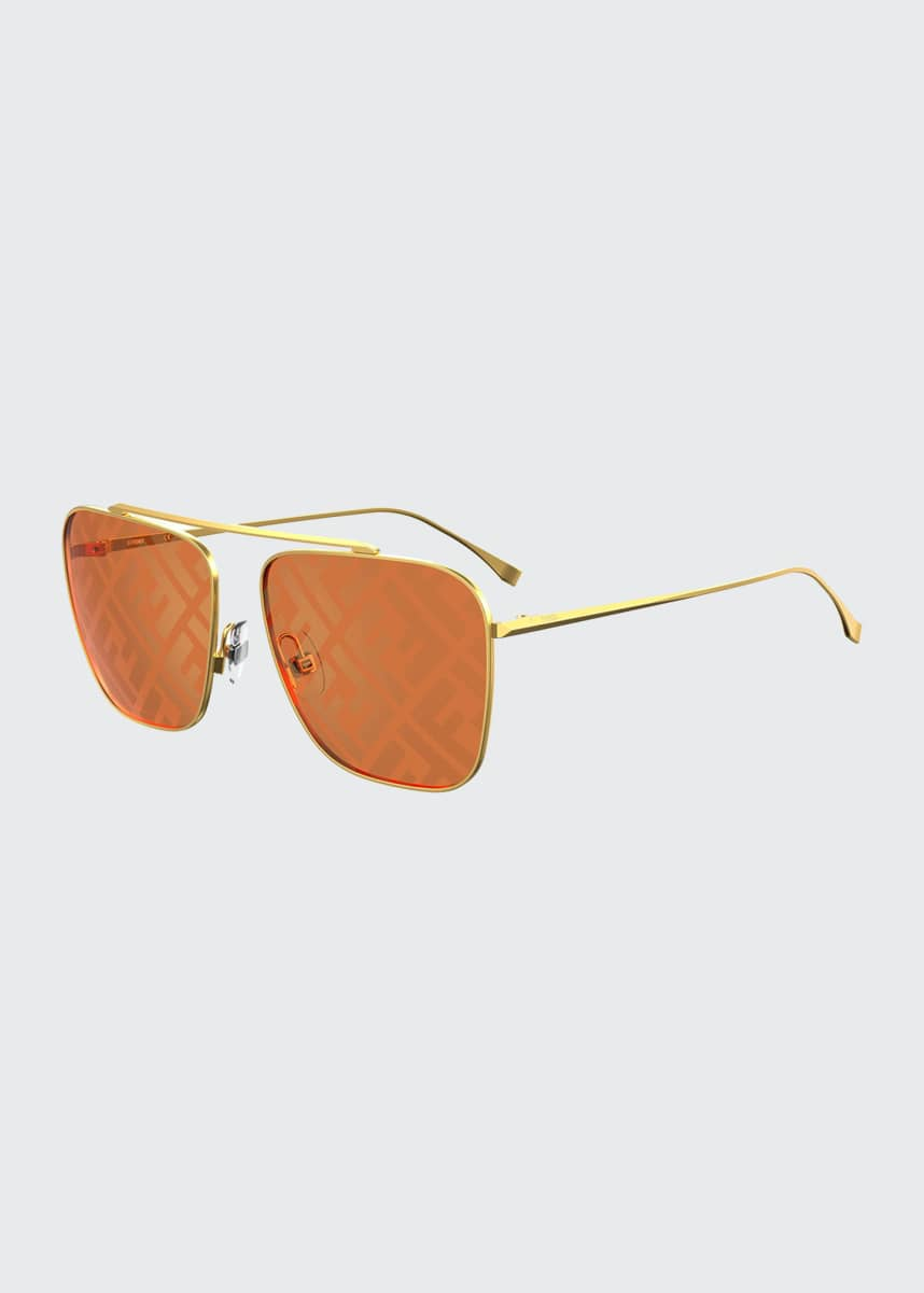 Fendi Square Metal FF Lenses Sunglasses