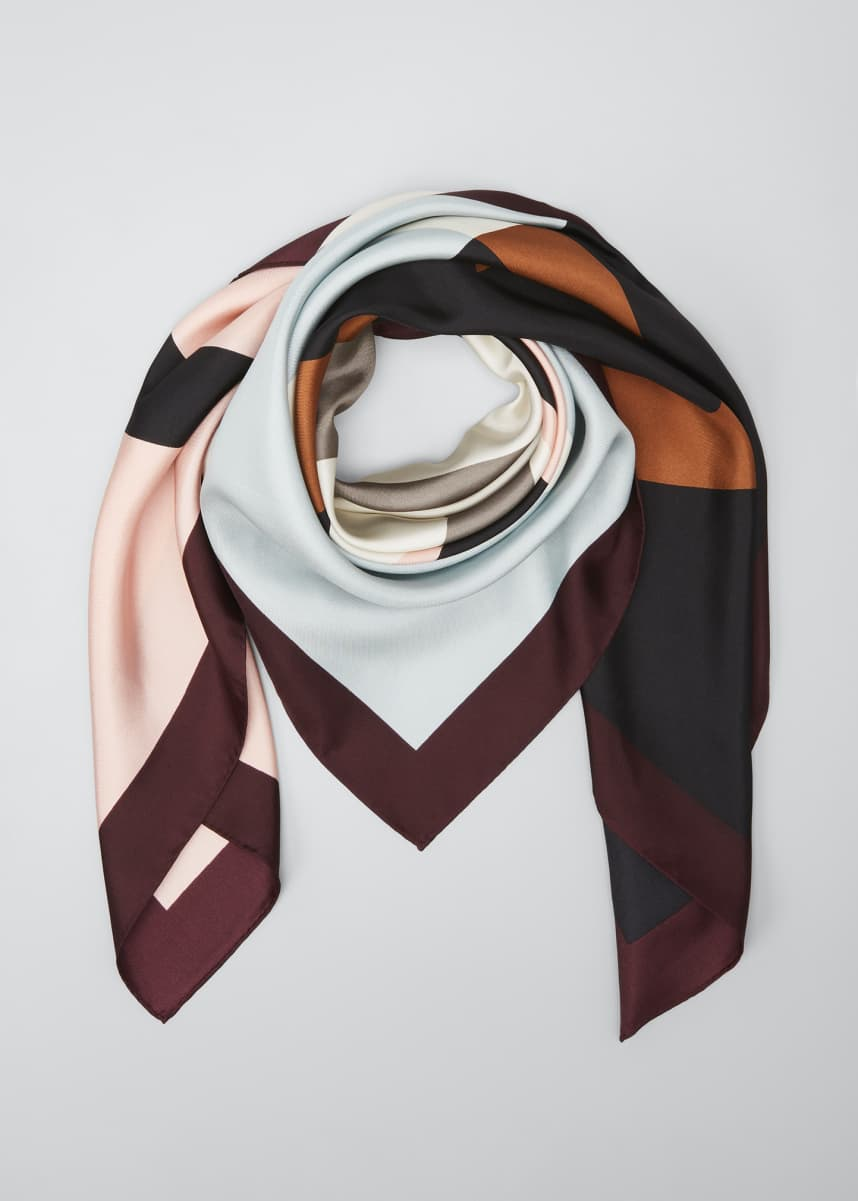 Tory Burch Colorblock Logo Silk Scarf